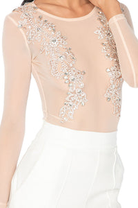 Monaco Mesh Top With Hand Sewn Crystals