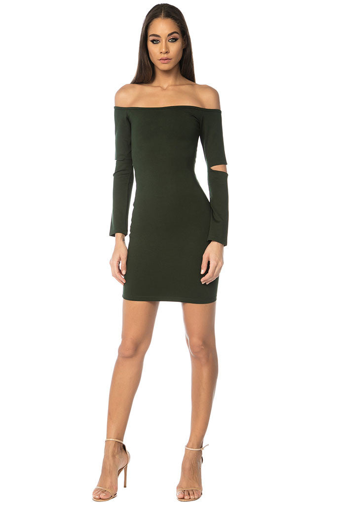 Song Off Shoulder Basic Dress - Green