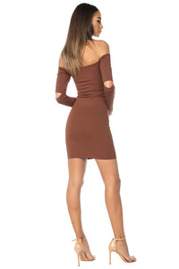 Song Off Shoulder Dress - Brown