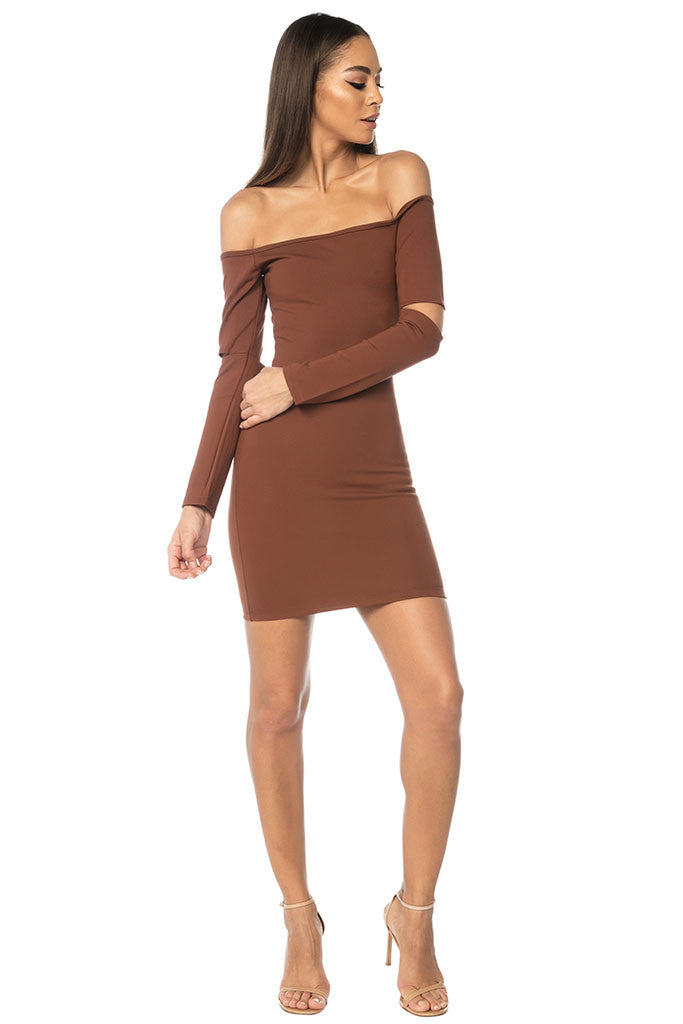 Song Off Shoulder Basic Dress - Brown