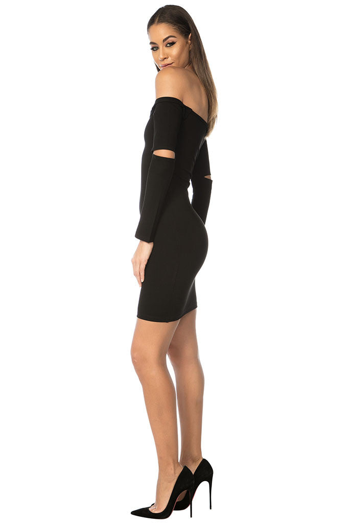 Song Off Shoulder Dress - Black