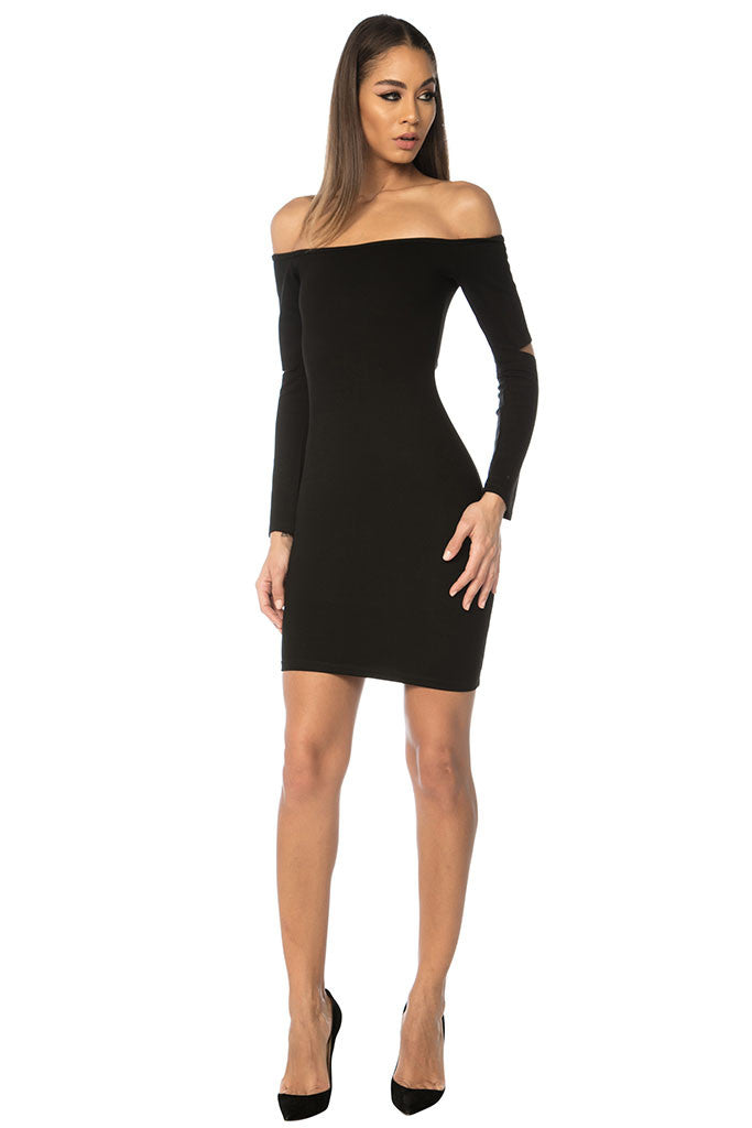 Song Off Shoulder Basic Dress - Black