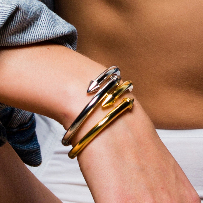 Hinged Spike Cuff - Gold