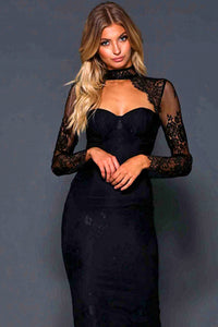 Chrissy Lace Backless Bandage Dress-Black