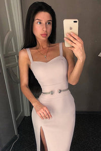 Carly Slit Strap Bandage Dress-Nude