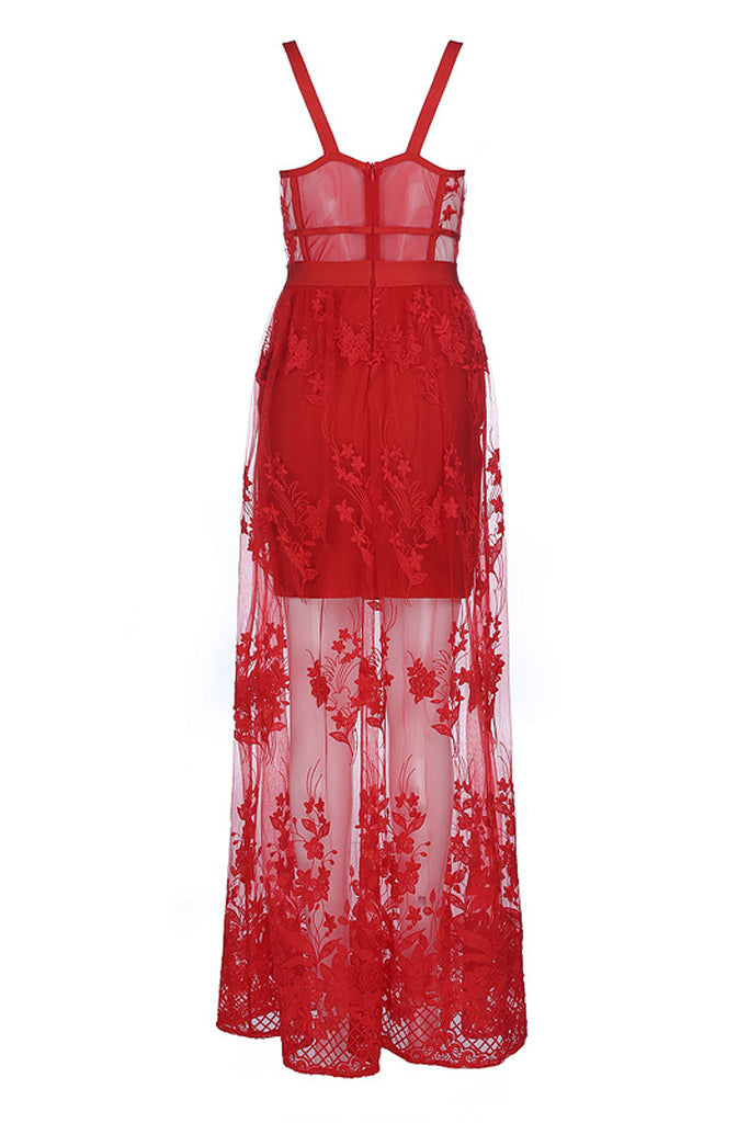 Kasaf Lace Bandage Gown- Red