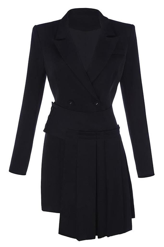 Rina Blazer 2 Piece Sets Suits -Black