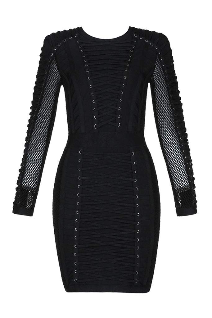 Ray Mesh Bandage Dress- Black
