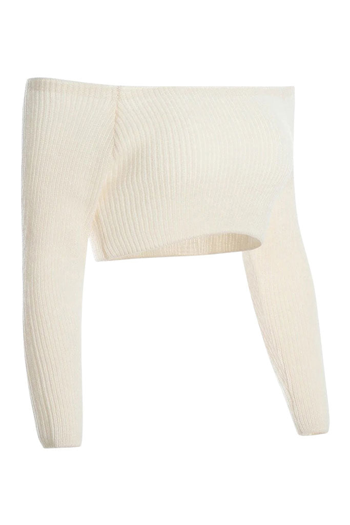 Mckenna Knit Crop Top - Creme