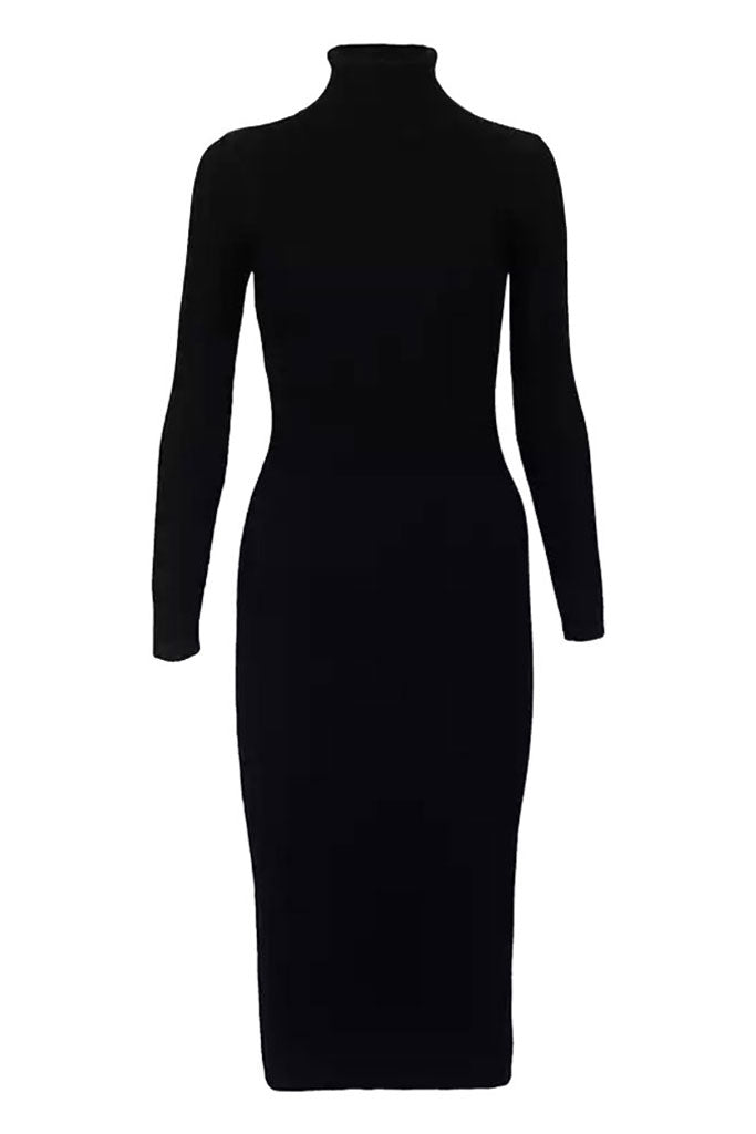 The Turtleneck Midi Dress- Black
