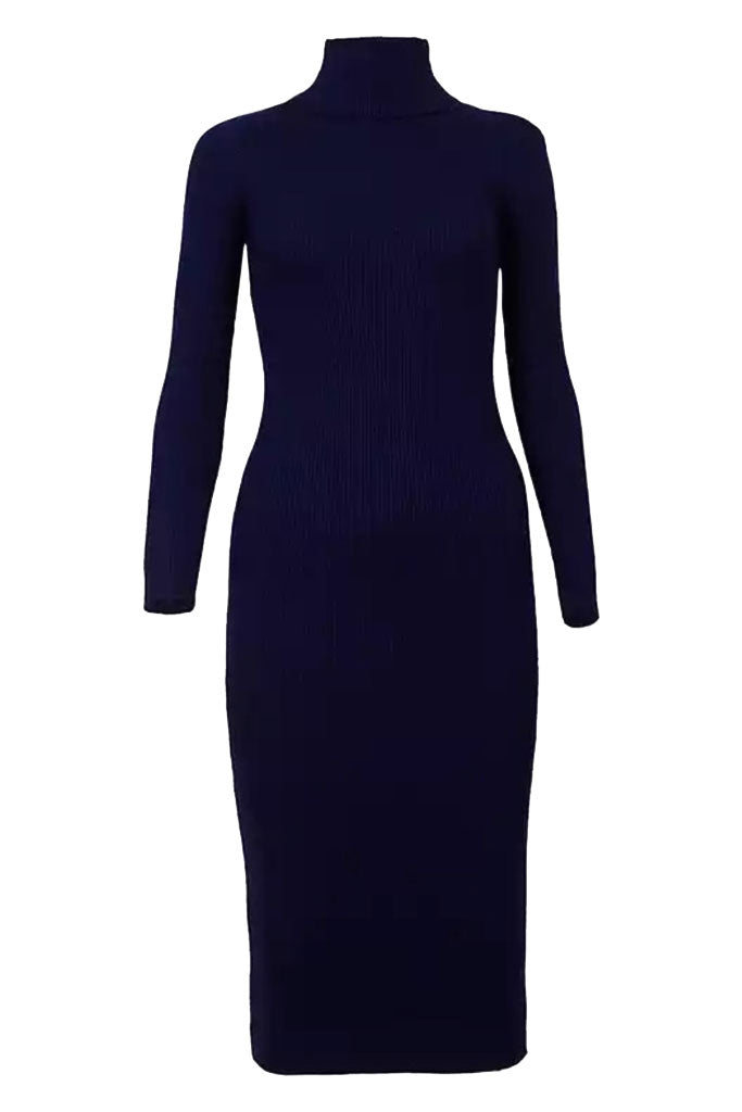 The Turtleneck Midi Dress- Navy