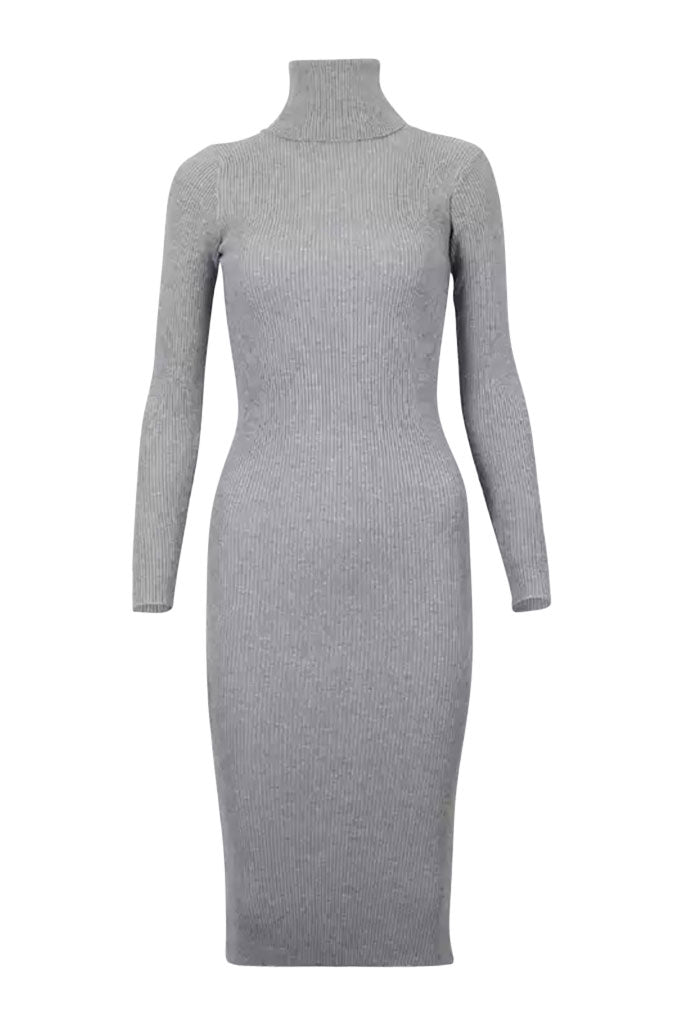 The Turtleneck Midi Dress- Grey