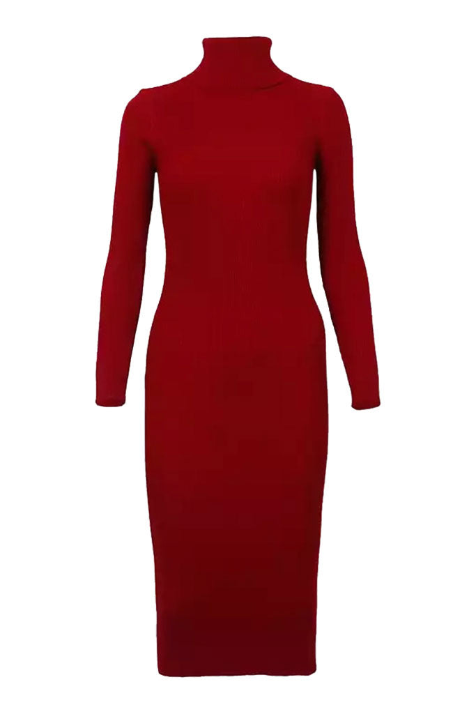 The Turtleneck Midi Dress- Burgundy