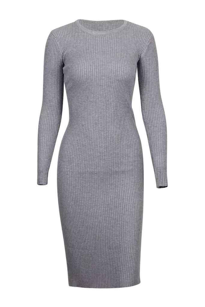 Zayn Ribbed Midi Dress - Grey