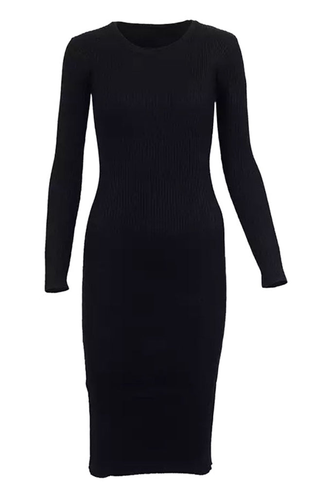 Zayn Ribbed Midi Dress - Black