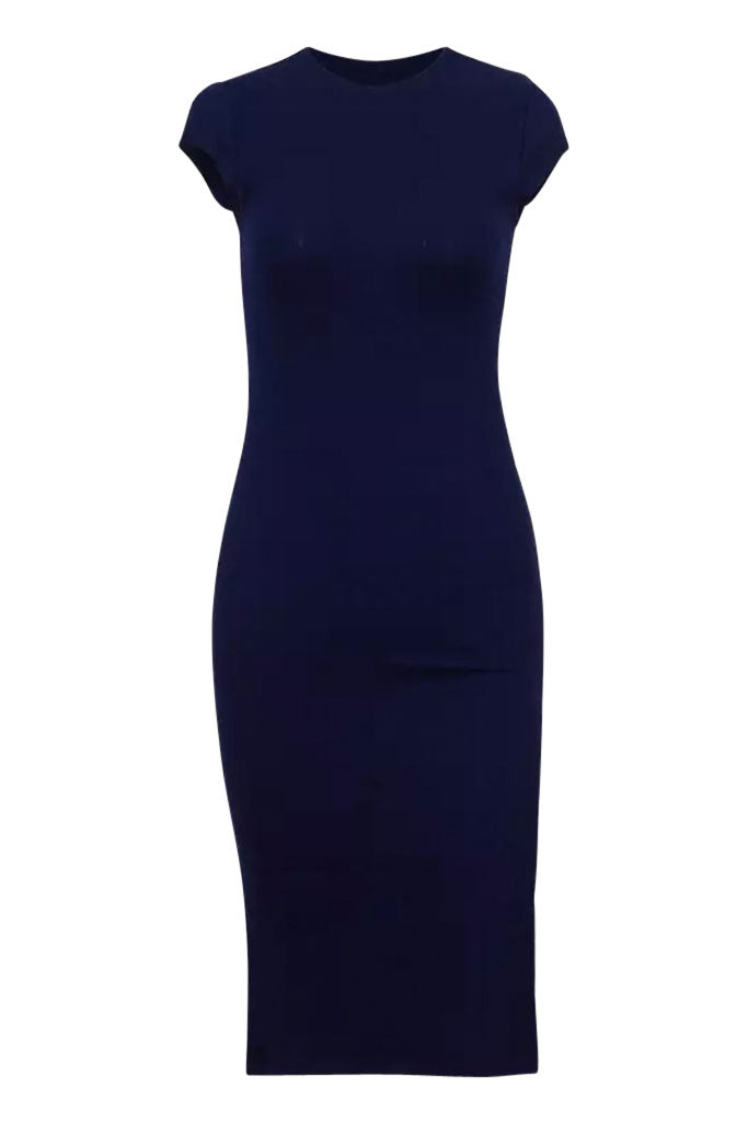 Mimi Ribbed Midi Dress - Navy