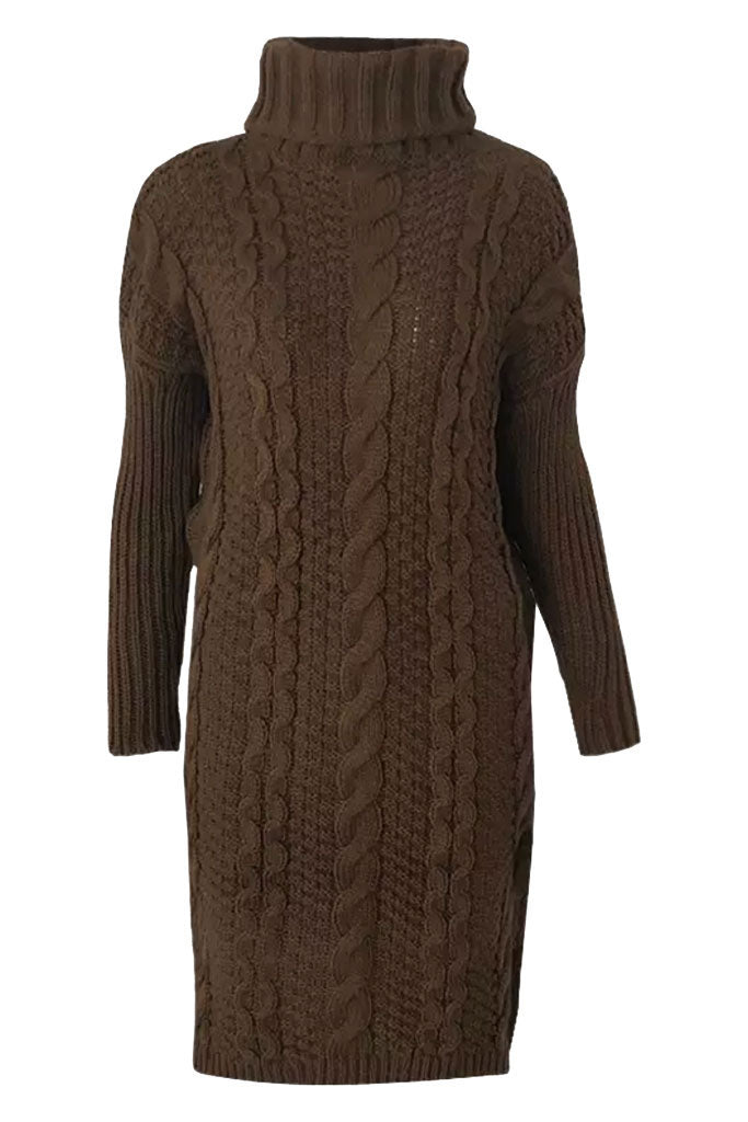 Cable Knit Cozy Sweater Dress - Brown