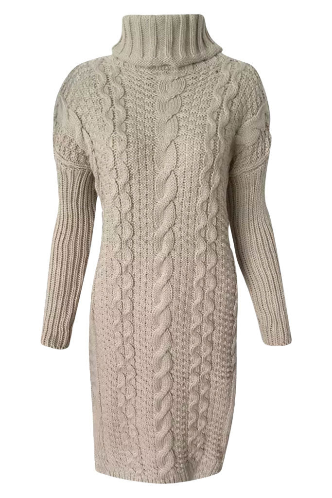 Cable Knit Cozy Sweater Dress - Nude