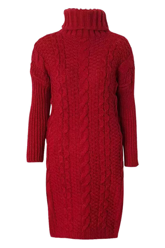 Cable Knit Cozy Sweater Dress - Red