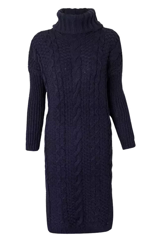 Cable Knit Cozy Sweater Dress - Blue