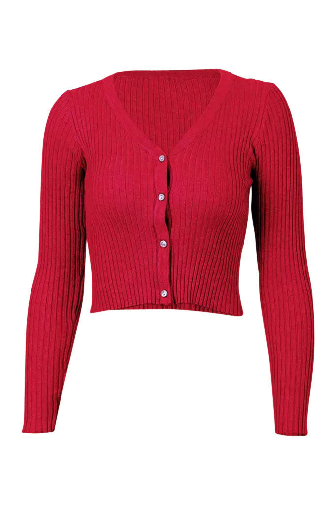 Alyssa Ribbed Long Sleeve Tee - Red