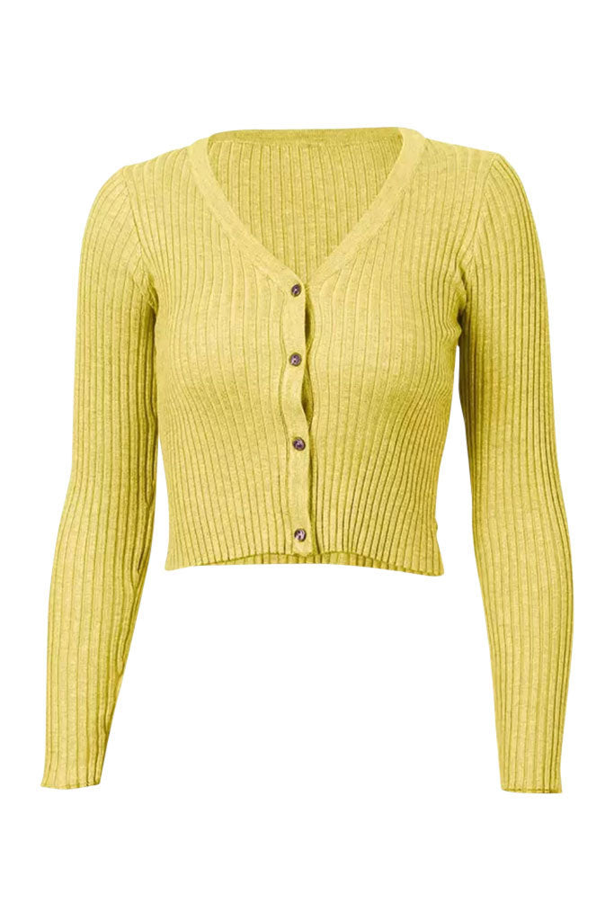 Alyssa Ribbed Long Sleeve Tee - Mustard