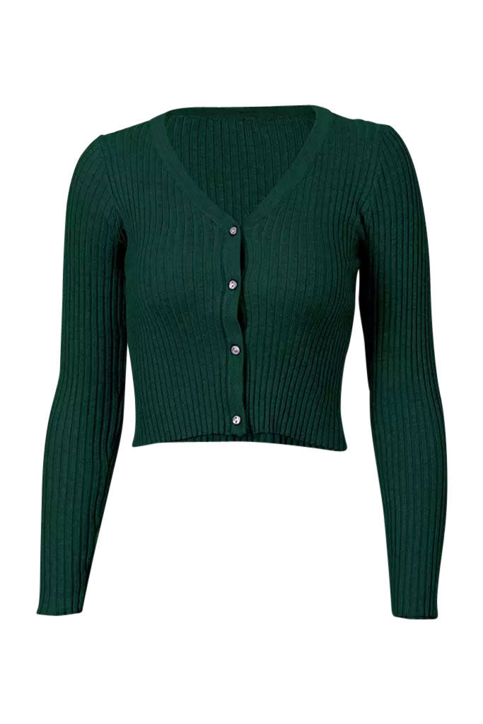Alyssa Ribbed Long Sleeve Tee - Hunter Green