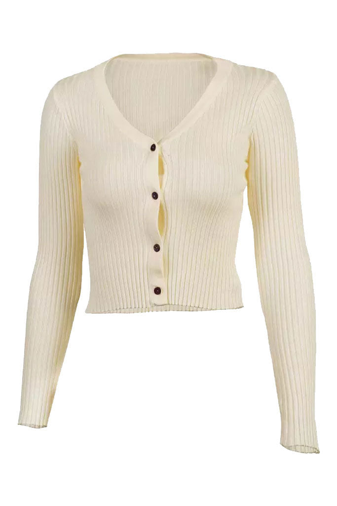 Alyssa Ribbed Long Sleeve Tee - Creme