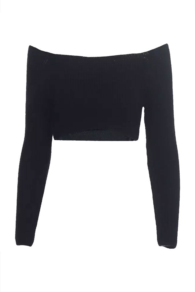 Mckenna Knit Crop Top - Black