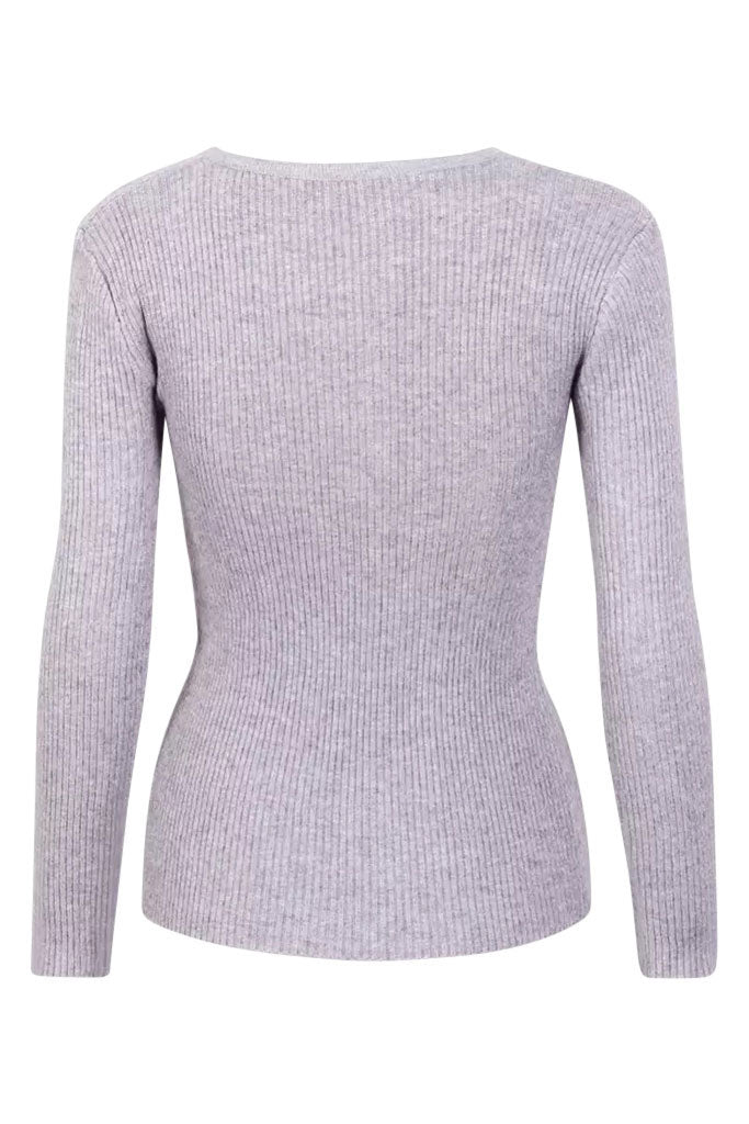 Alexa Ribbed Long Sleeve Tee - Grey