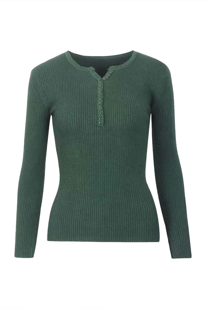 Alexa Ribbed Long Sleeve Tee - Hunter Green