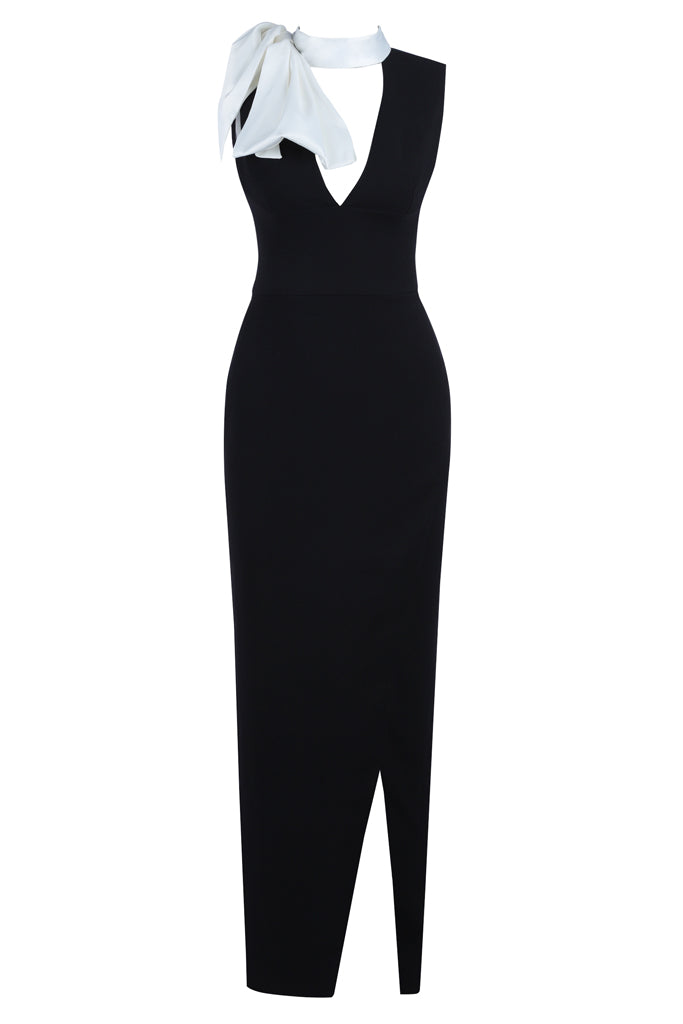Irene Bow Bodycon Gown -Black
