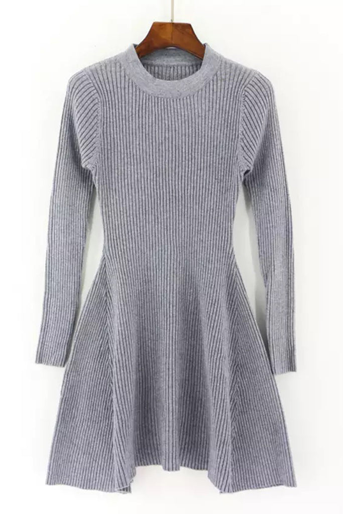 Knit A Line Dress - Grey
