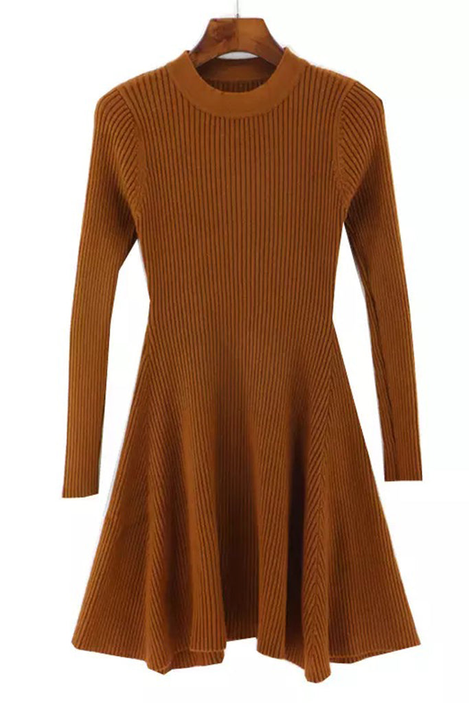 Knit A Line Dress - Bronze