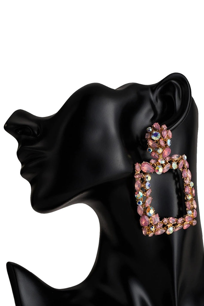 S57 Crystal Earring - Pink