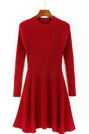 Knit A Line Dress - Red