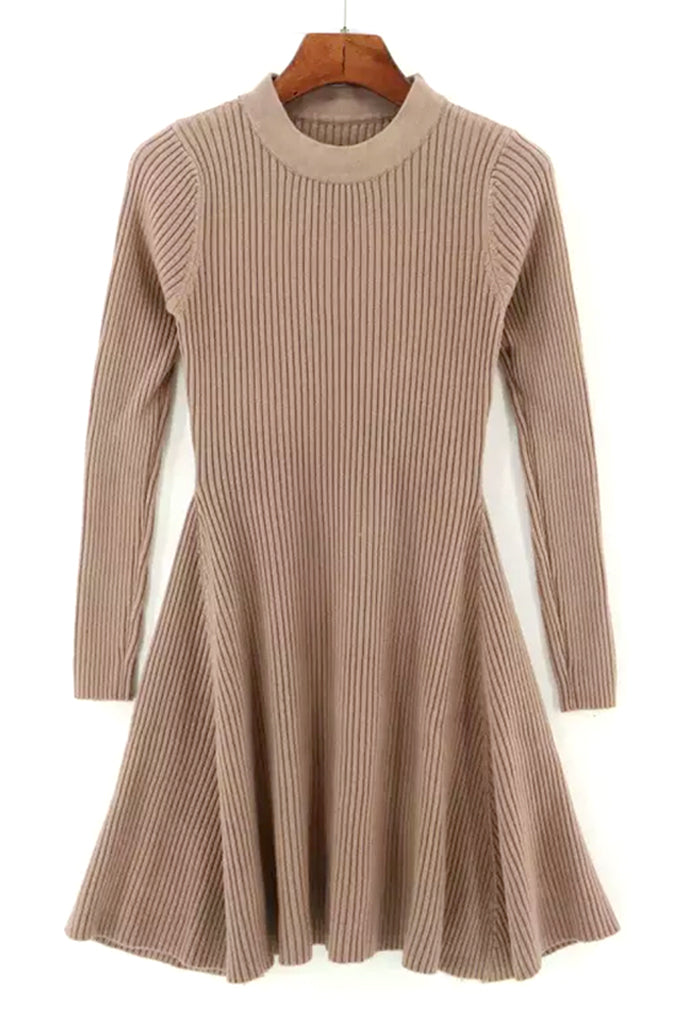Knit A Line Dress - Taupe