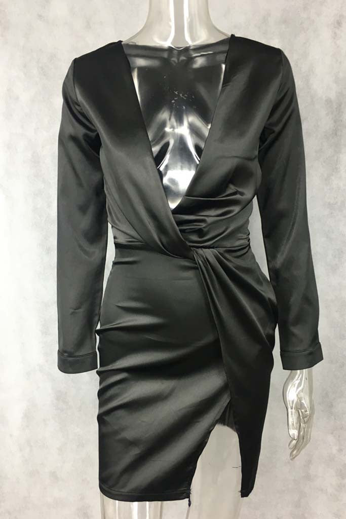 Selene Satin Mini Dress - Black