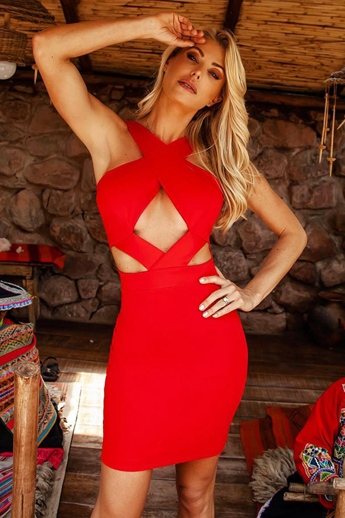 Stella Bandage Dress -Red