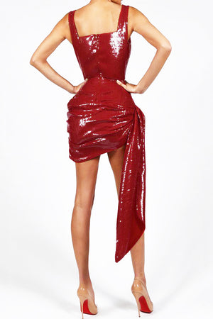 Vicky Luxury Sequins Dress- Red