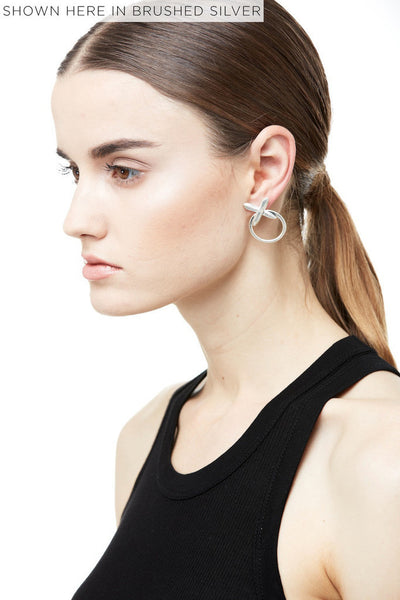 CRYSTAL CROSS STATEMENT EARRINGS - SHINY BLACK