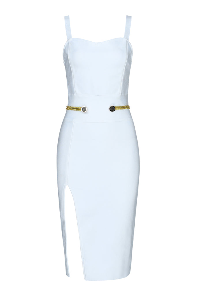 Carly Slit Strap Bandage Dress-White