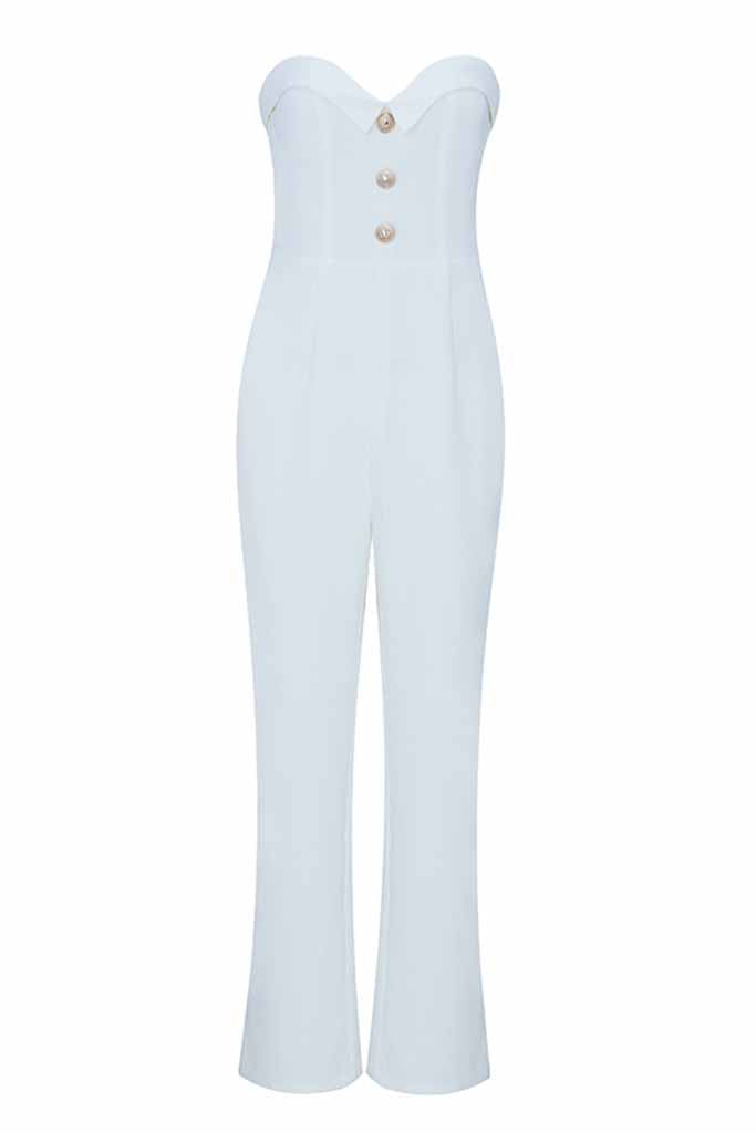 Sheer All Night Strapless Bodycon Jumpsuit In White