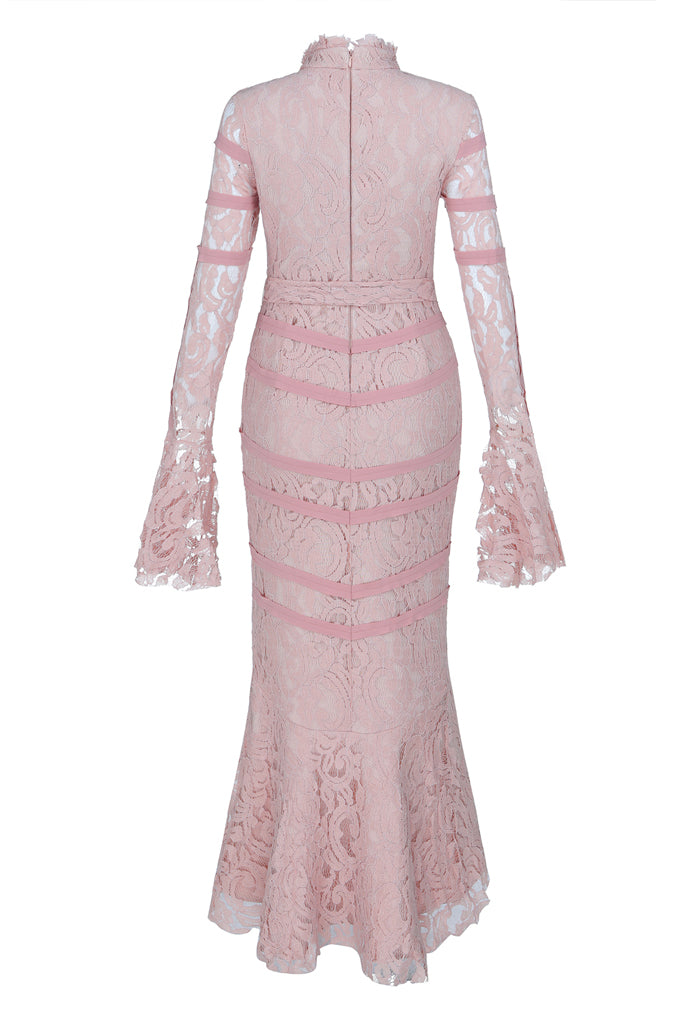 Caroline Lace Bandage Dress-Pink