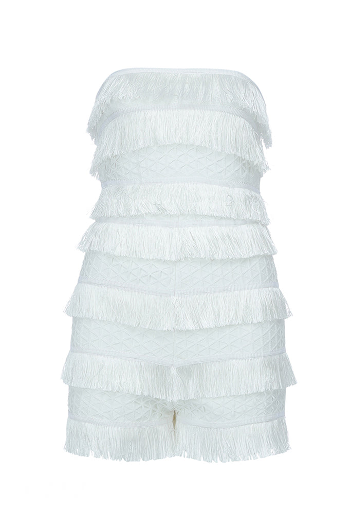 Stacie Tassels Bandage Playsuit - White