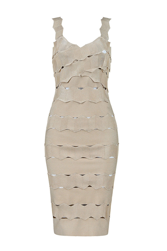 Clarissa Lace Bandage Dress- Apricot