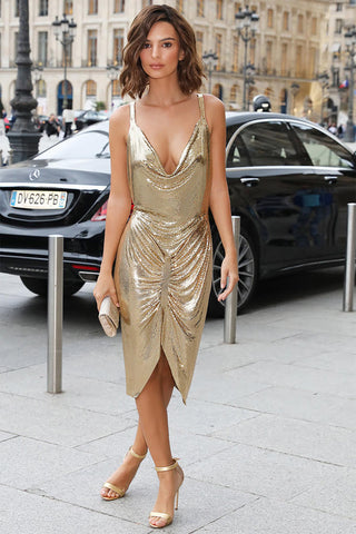 Dripping in Gold Metal Mesh Dress