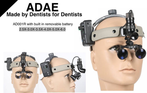 ADAE AD001R dental loupes with built in removable battery - ADAE Dental Online Store