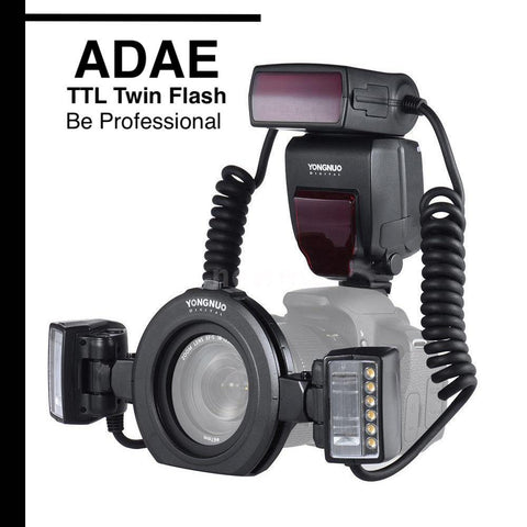 TTL Twin Flash for Canon EOS DSLR Camera+Adapter Rings - ADAE Dental Online Store