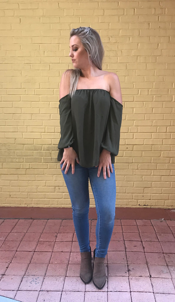 Olive Off Shoulder-Top
